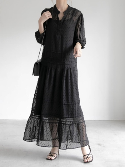 【RE ARRIVAL】dot jacquard dress
