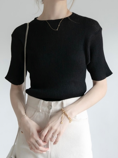 【RE ARRIVAL】sheer rib knit   black