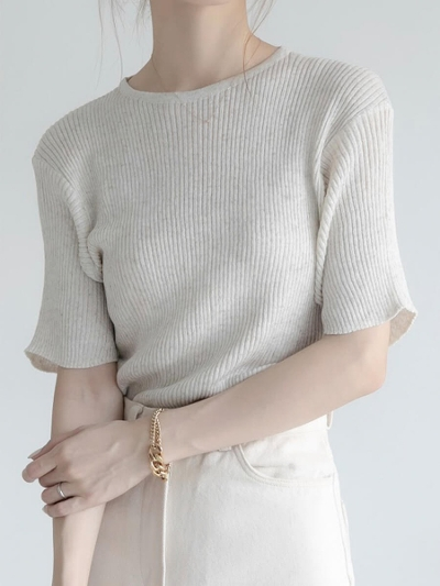 【RE ARRIVAL】sheer rib knit   beige