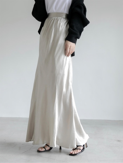 【RE ARRIVAL】satin maxi skirt