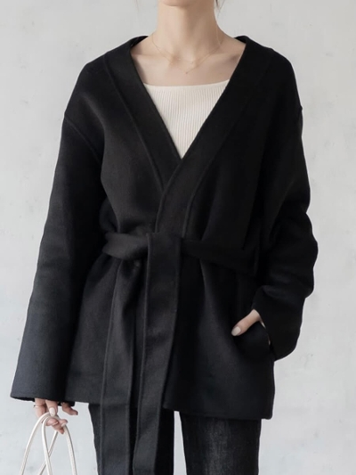 【NEW】amel original <br>2way short coat / black