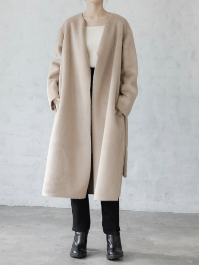 【RE ARRIVAL】amel original <br>eco fur long coat / beige