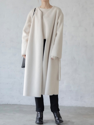【NEW】amel original <br>eco fur long coat / ivory