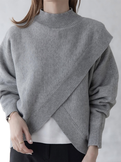 【RE ARRIVAL】cape design knit / gray