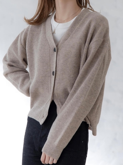 【NEW】cropped knit cardigan / beige