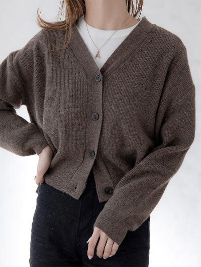 【NEW】cropped knit cardigan / brown