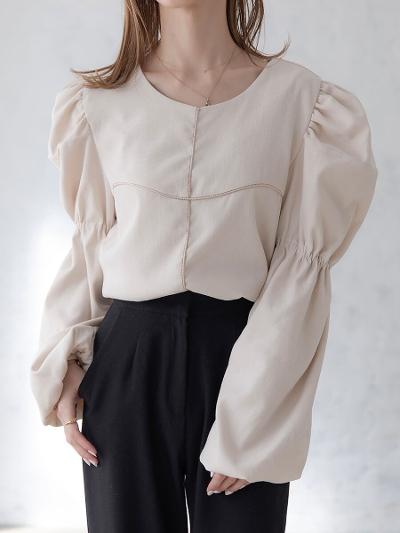 【NEW】velour touch blouse / ivory