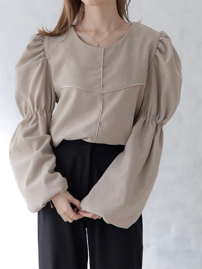 【NEW】velour touch blouse / beige