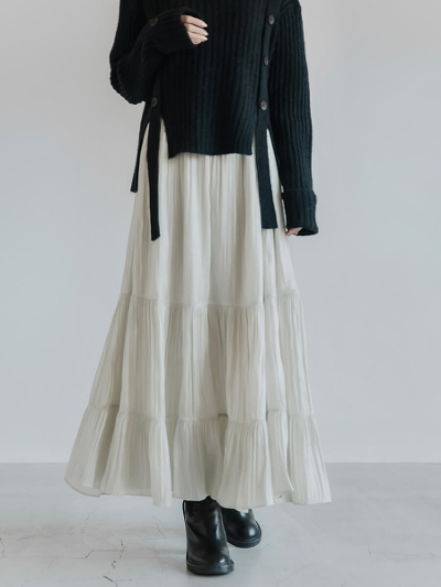 【RE ARRIVAL】tiered satin skirt