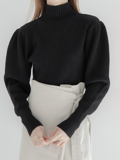 【NEW】puff sleeve rib knit / black