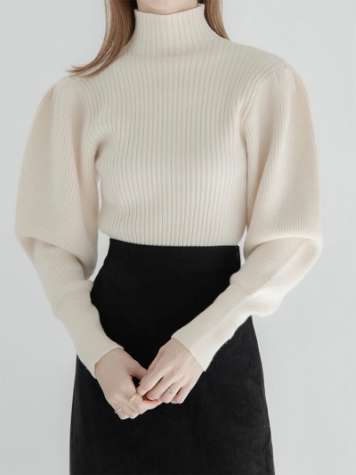 【RE ARRIVAL】puff sleeve rib knit / ivory