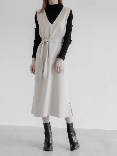【RE ARRIVAL】belt set jumper dress / ivory