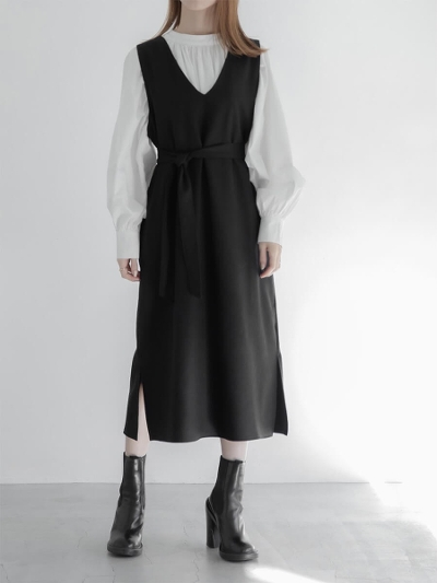 【RE ARRIVAL】belt set jumper dress / black