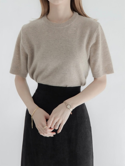 【NEW】crew neck knit tops / beige