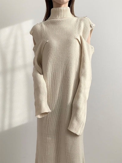 【RE ARRIVAL】shoulder open knit dress / ivory