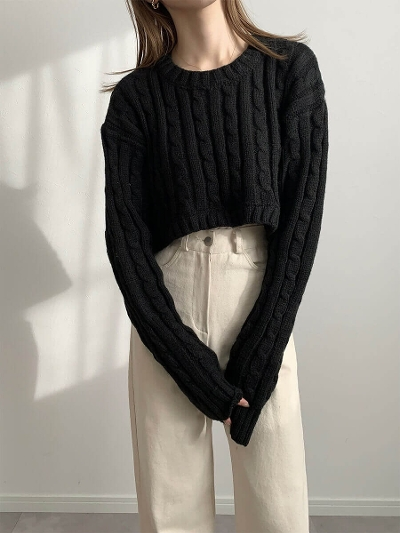 【RE ARRIVAL】short cable knit / black