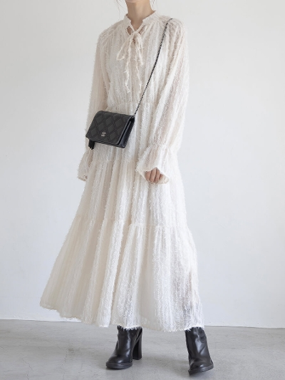 【NEW】ribbon tie jacquard dress / ivory