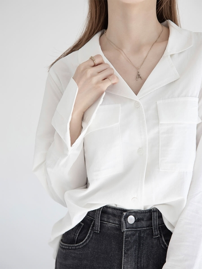 【NEW】open collar shirt / white