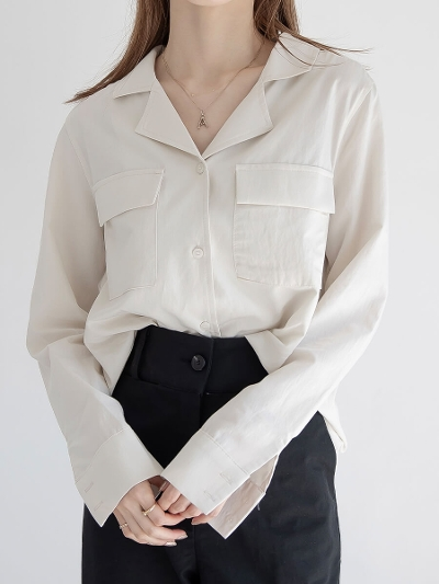 【NEW】open collar shirt / beige